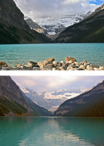 Iconic shots of Lake Louise, taken in 2008 and 2010.