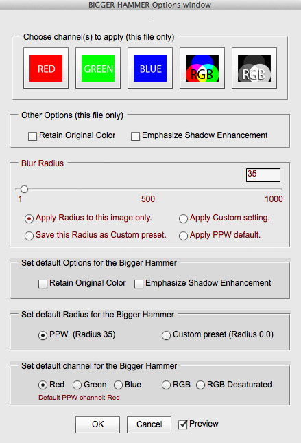 The Bigger Hammer Options window, accessed by Option-clicking the action in the PPW panel.