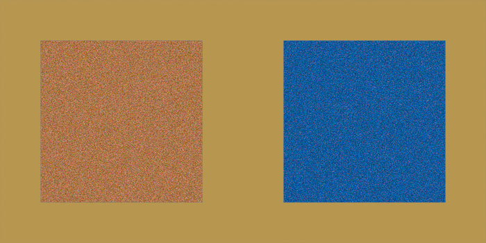 Version A. Which background is best suited to bring out the brown box on the left? The blue box on the right? And which if both are considered equally important?