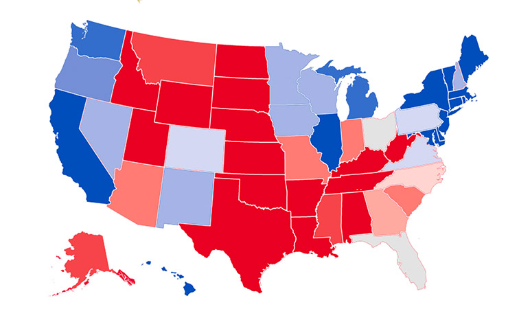 A representation of the outcome of the 2012 U.S. presidential election, prepared in the way that most such maps are today. Note that although the two use the same data, this version seems bluer than the one below.