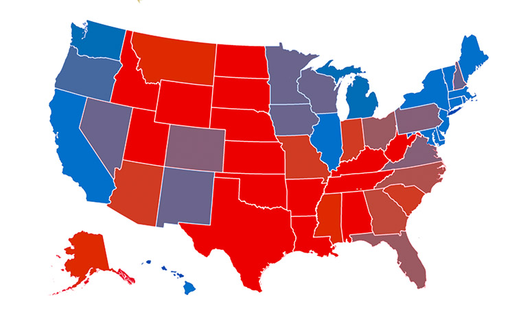 "An alternate version that assumes that the colors of the two parties (red and blue) should be mixed when a state is up for grabs, as opposed to portraying the state as merely ""less blue"" or ""less red."""