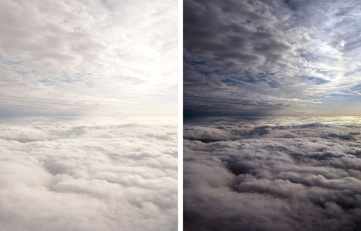 2082-D & Auto Tone: Left, the clouds are white at a huge cost. Right, Auto Tone applied to the default forces a white and a black point.
